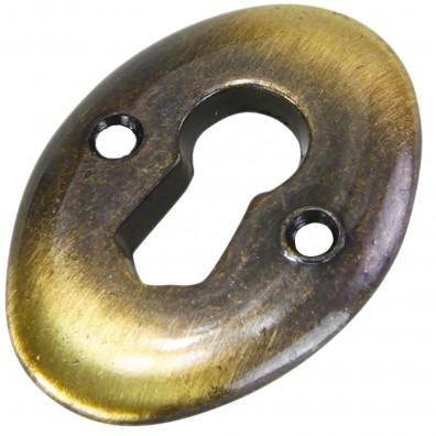 1 HSI Schlüsselschilder - rund Zamak altmessing 25x35mm