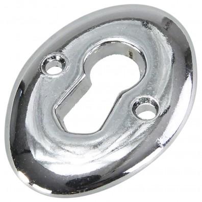 1 HSI Schlüsselschilder - rund Zamak verchromt 25x35mm