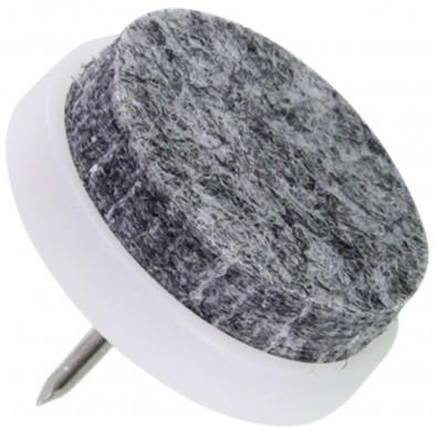 4 HSI Stuhlgleiter, Filz - Plastikplatte, eingeklebt - grau-weiß - 24mm