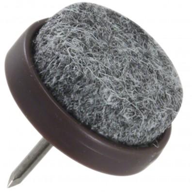 4 HSI Stuhlgleiter, Filz - Plastikplatte, eingeklebt - grau-braun - 20mm