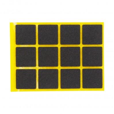 12 HSI Stuhlgleiter, Filz - selbstklebend - braun - 25x25mm
