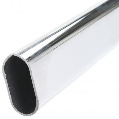 HSI Schrankrohr - oval - Stahl - verchromt - 30x15x1,0mm