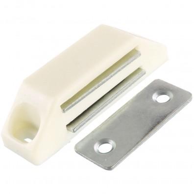 1 HSI Magnetschnäpper - mit fester Platte - weiß - Haftkraft 6kg