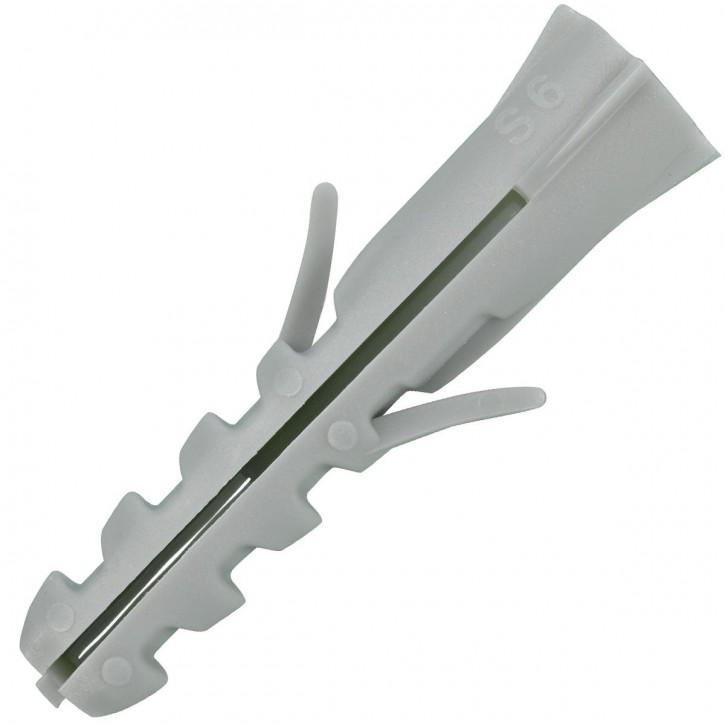 100 FISCHER Spreizdübel S 6x30 mm - Nylon - für Holz- und Spanplattenschrauben