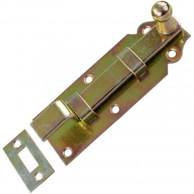 1 GAH Türriegel 120x44x16 mm - gekröpft - mit Schließblech - gelb verzinkt