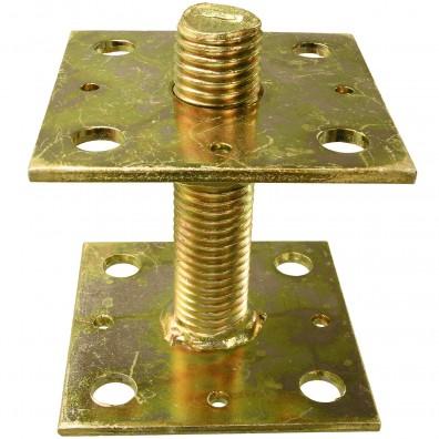 1 Pfostenträger  gelb verzinkt aufdübelbar höhenverstellbar Gewindest. >=90 mm