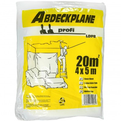 1 Abdeckplane, 4x5m , LDPE transparent , 18my  -Profi-