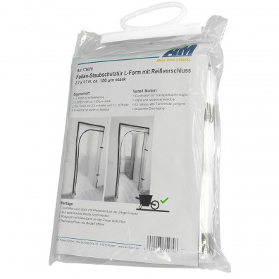 1 Staubschutztür L-Form, Reißverschluss, 150 my, LDPE,  2,1 x 1,1 m