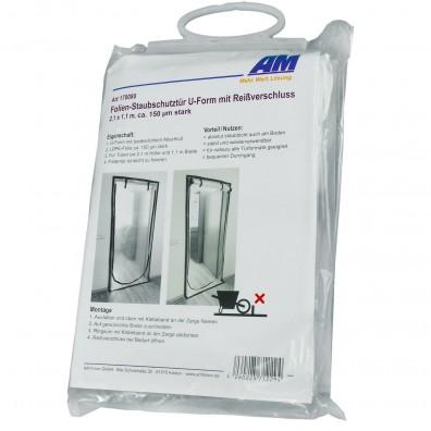 1 Staubschutztür U-Form, Reißverschluss, 150 my, LDPE,  2,1 x 1,1 m