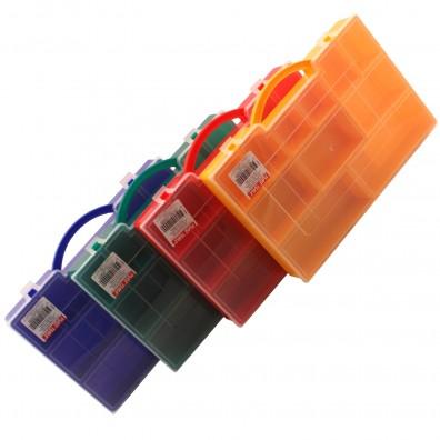 Sortimentskasten mit fester Facheinteilung in verschiedenen Farben