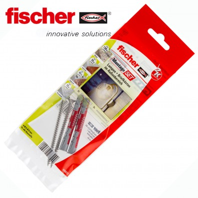 4 tlg. FISCHER DUOPOWER Nylon-Dübel Montage-Set - Lampe / Briefkasten Außenbereich