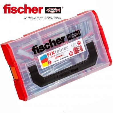 90 tlg. FISCHER DUOPOWER Nylon-Dübel-Sortiment - Sanitärbox mit Stockschrauben - im FIXtainer