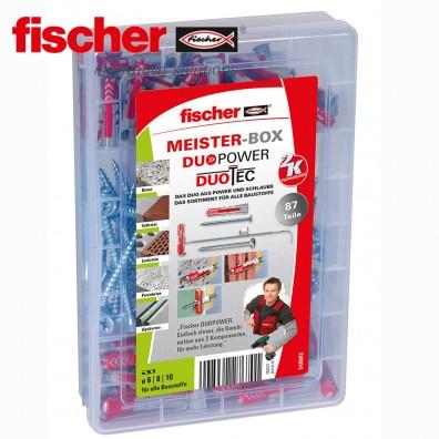 87 tlg. FISCHER DUOLINE Nylon-Dübel-Sortiment mit Schrauben - in der Meister-Box