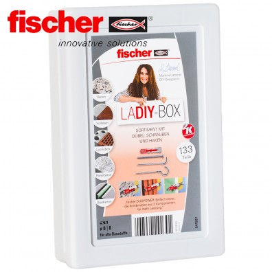 133 tlg. FISCHER DUOPOWER Nylon-Dübel-Sortiment mit Schrauben und Schraubhaken - in der LaDIY-Box