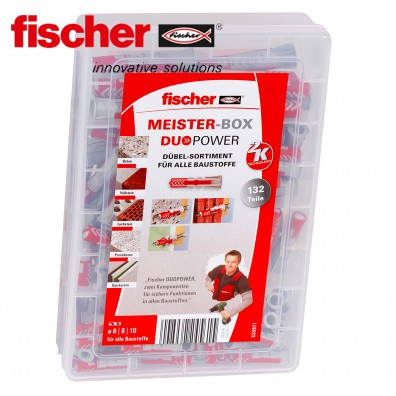 132 tlg. FISCHER DUOPOWER Nylon-Dübel-Sortiment - in der Meister-Box
