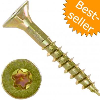 Spanplattenschrauben - Teilgewinde - Torx® (TX) Senkkopf - Fräsrippen - gelb verzinkt