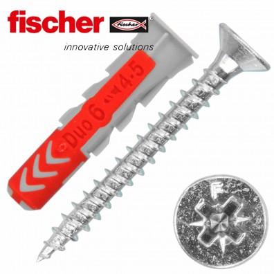 FISCHER DUOPOWER Nylon-Dübel - mit Senkkopfschraube - Edelstahl