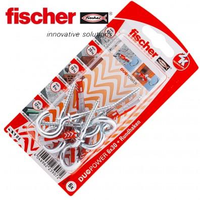 FISCHER DUOPOWER Nylon-Dübel - mit Rundhaken - verzinkt