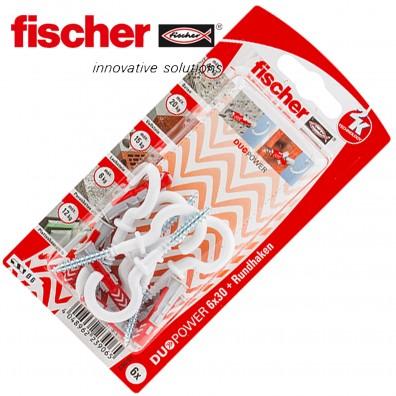 FISCHER DUOPOWER Nylon-Dübel - mit Rundhaken - weiß
