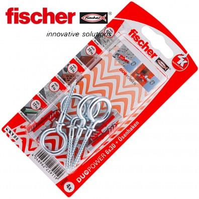 FISCHER DUOPOWER Nylon-Dübel - mit Ösenhaken - verzinkt