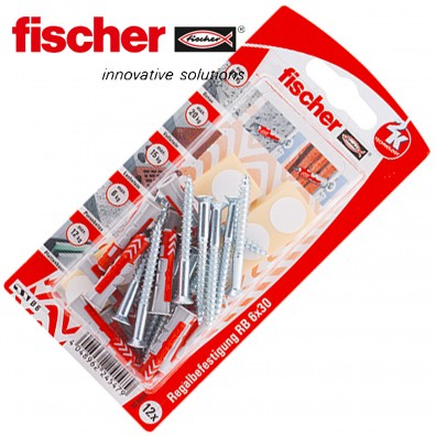 FISCHER DUOPOWER Nylon-Dübel - Regalbefestigungs-Set
