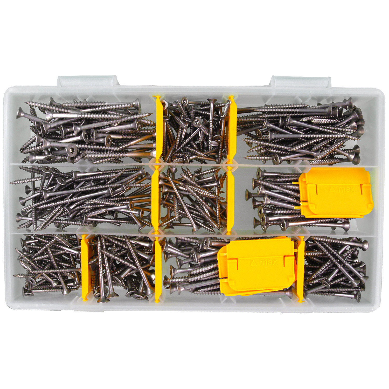 Sortiment Edelstahl A2 Schrauben Durchmesser 5,0 mm 405 Teile; Holzschrauben//Spanplattenschrauben mit verst/ärktem Kopf; Material VA V2A