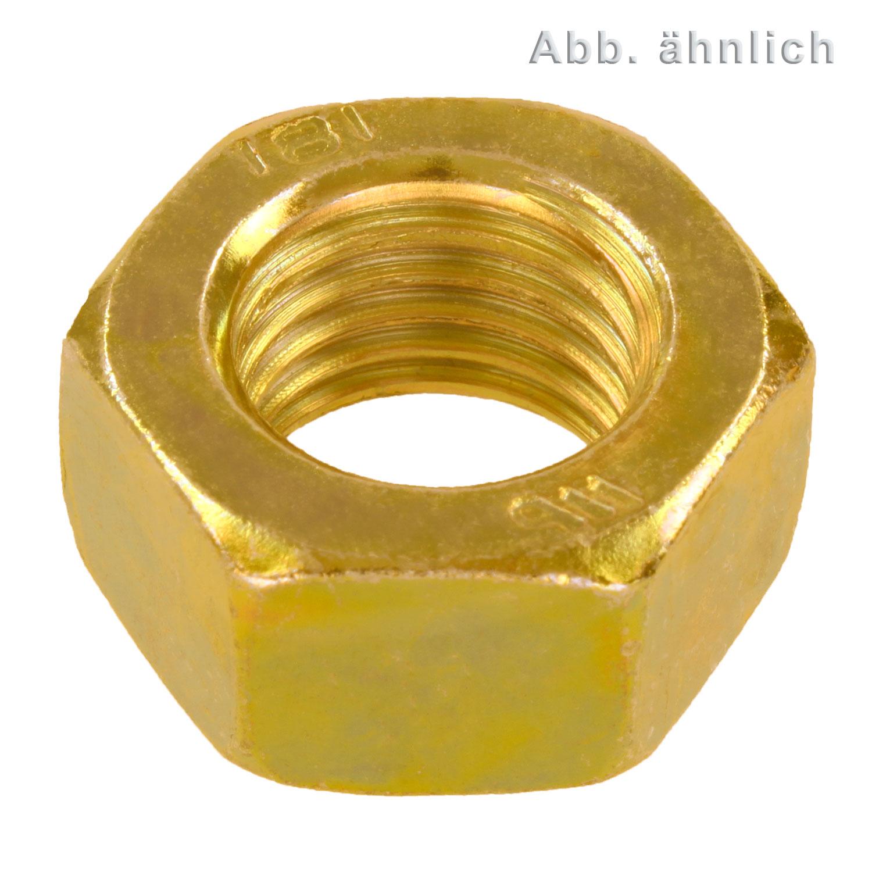 Festigkeit 8 100 Stk DIN 934 Sechskantmutter M5 Stahl gelb verzinkt