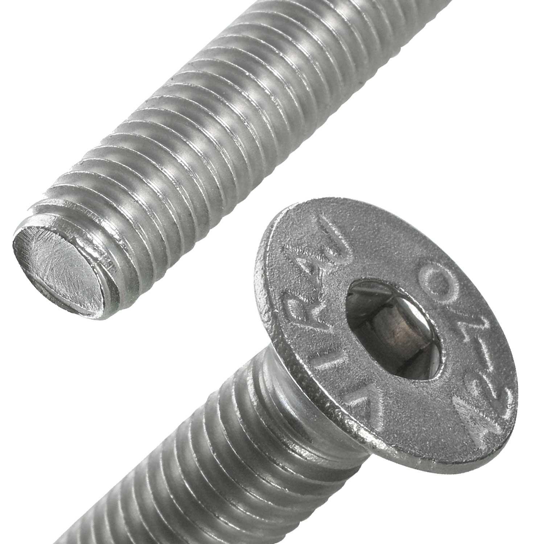 Schraubenkopf Senkschraube ISO 10642 von oben und Gewinde Seitenansicht