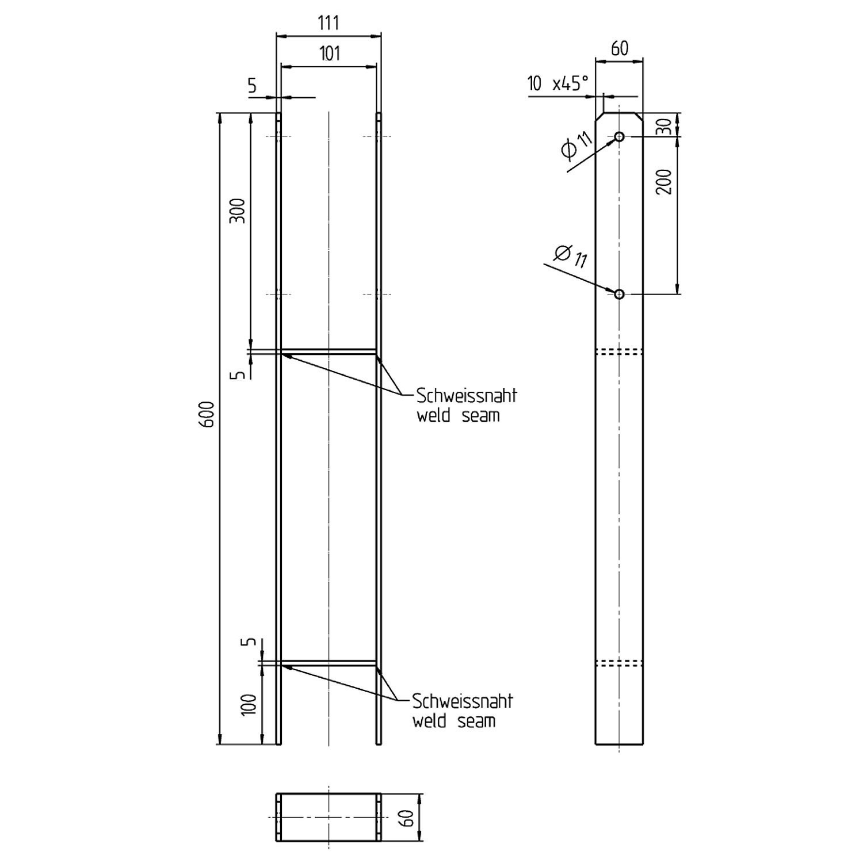 Komplett Neu H-Pfostenträger 101 mm für 100 mm Pfosten - BefestigungsFuchs WR68