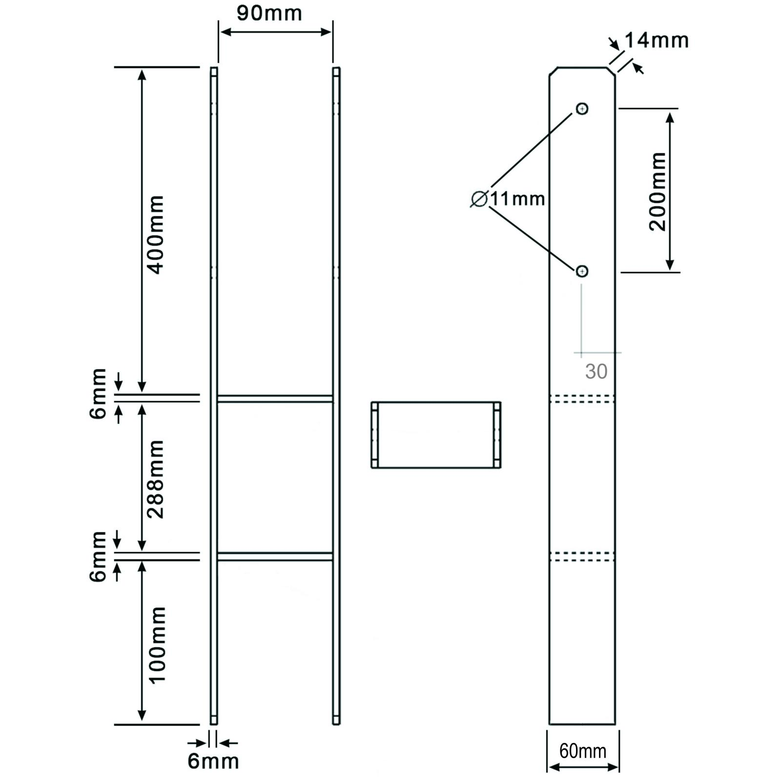 extra lang 1 H-Pfostentr/äger feuerverzinkt 6//800 mm f/ür 90 mm Pfosten