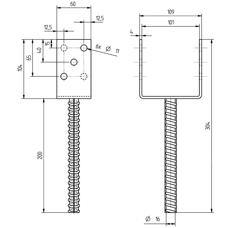 Komplett Neu 1 U-Pfostenträger mit Riffeldolle feuerverzinkt 101x200 mm WR68