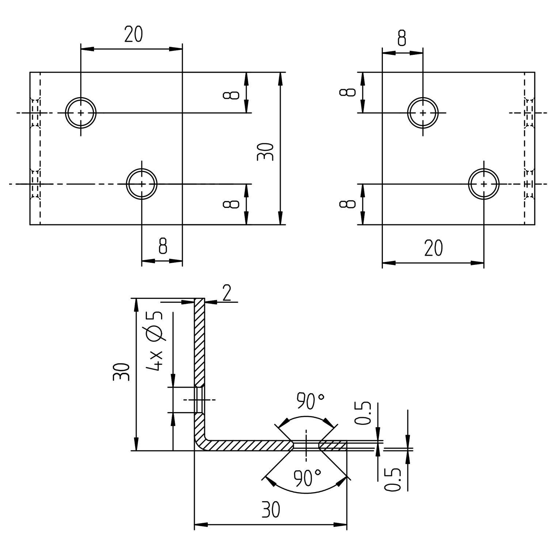 40 x 40 x 40 mm // 10 St/ück GAH-Alberts 361082 Breitwinkel gleichschenklig Edelstahl