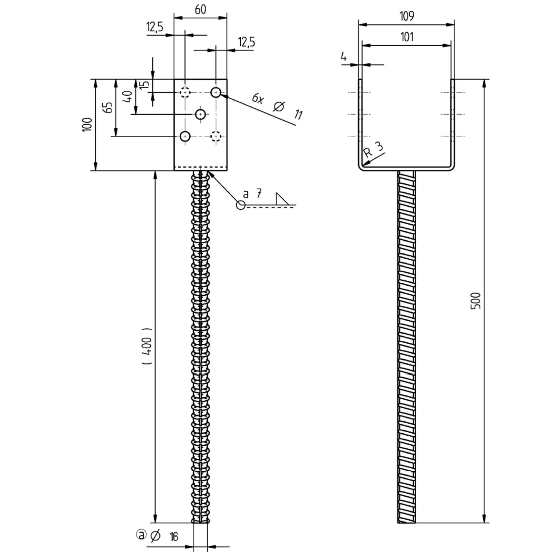 Gut gemocht 1 GAH U-Pfostenträger feuerverzinkt mit 400mm Riffeldolle für 100 OV93