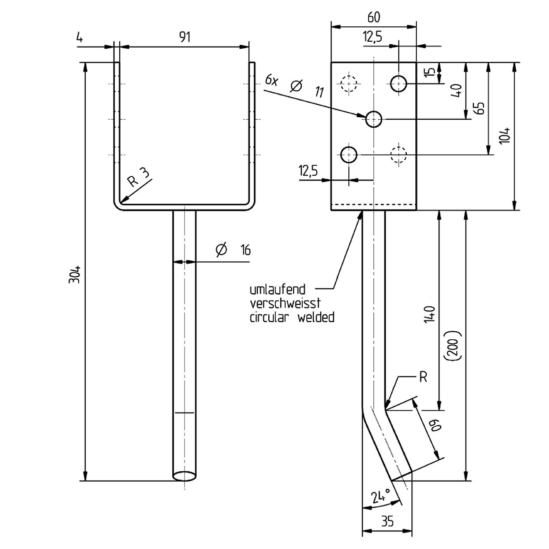 u pfostentr ger 91 mm edelstahl befestigungsfuchs. Black Bedroom Furniture Sets. Home Design Ideas