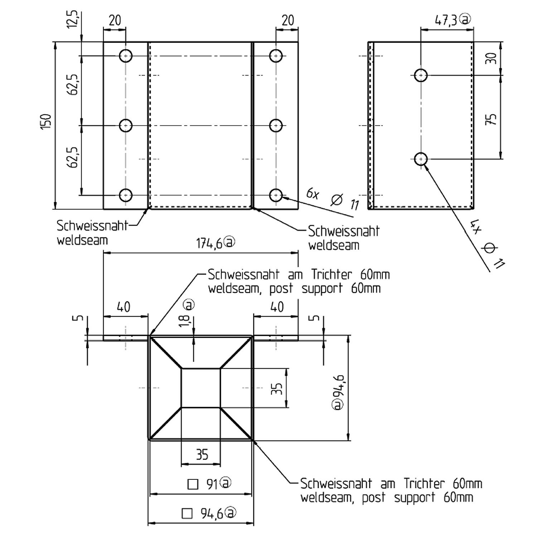 1 gah anschraubh lse l steine u steine feuerverzinkt f r 90mm 968030 04 91. Black Bedroom Furniture Sets. Home Design Ideas