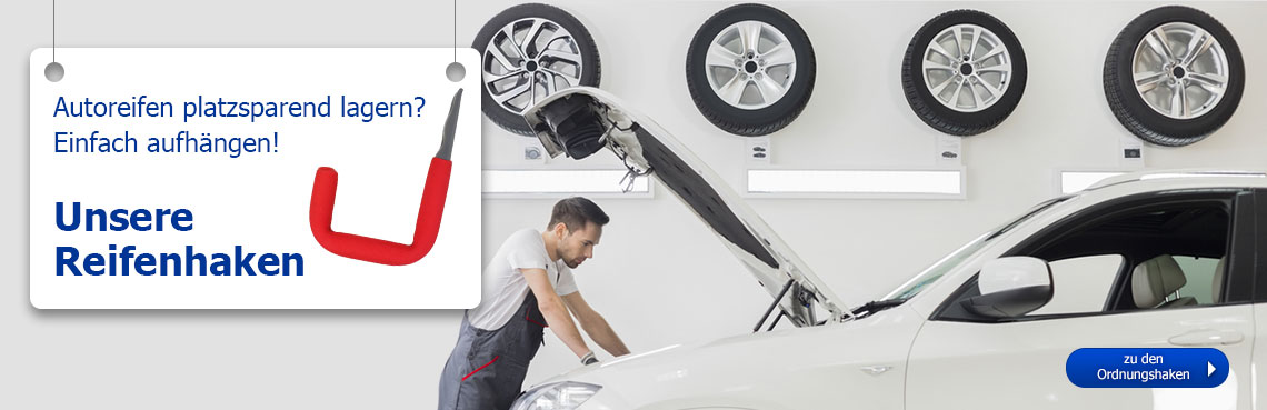 Autoreifen platzsparend lagern mit den Ordnungs- und Reifenhaken von GAH.