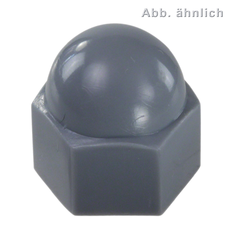 100 korrex schutzkappen f r m10 sechskantmuttern kunststoff grau kz10g 10. Black Bedroom Furniture Sets. Home Design Ideas