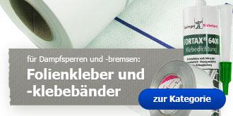 Auch für Dampfsperren und -bremsen geeignet: Folienkleber und Folienklebebänder