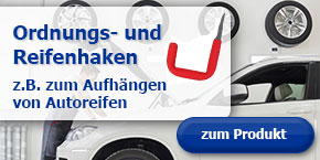 Autoreifen platzsparend lagern - mit den Ordnungs- und Reifenhaken von GAH.