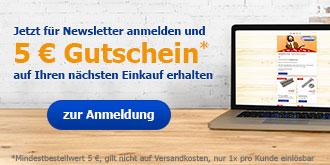 Jetzt für den Newsletter anmelden und 5€-Rabatt auf Ihren nächsten Einkauf erhalten!