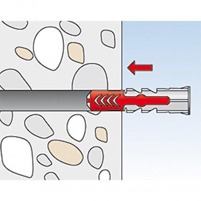 fischer Duopower Dübel rot-grau Montage in Vollbaustoffen Schritt 2