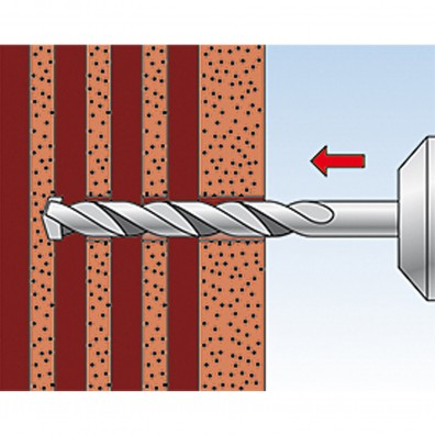fischer Duopower Dübel rot-grau Montage in Lochbaustoffen Schritt 1