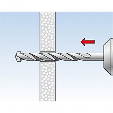 fischer Duopower Dübel rot-grau Montage in Plattenbaustoffen Schritt 1