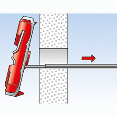 fischer Duotec Dübel rot-grau Montage in Plattenbaustoffen Schritt 4