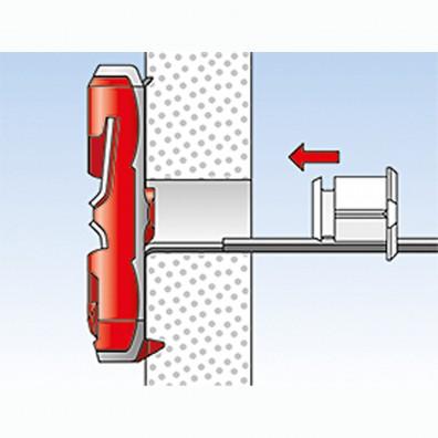 fischer Duotec Dübel rot-grau Montage in Plattenbaustoffen Schritt 5