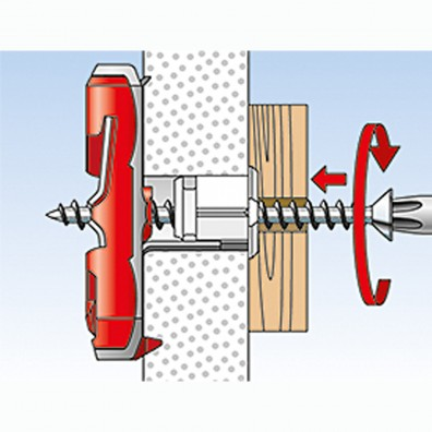 fischer Duotec Dübel rot-grau Montage in Plattenbaustoffen Schritt 2