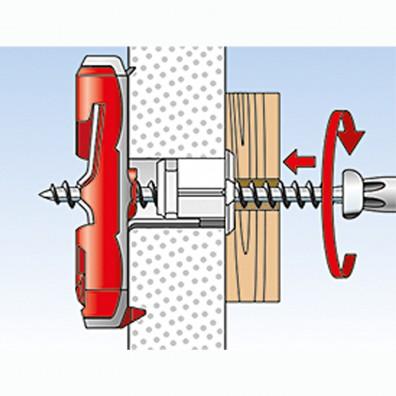 fischer Duotec Dübel rot-grau Montage in Plattenbaustoffen Schritt 3