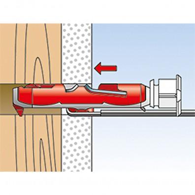 fischer Duotec Dübel rot-grau Montage in Vollbaustoffen Schritt 2
