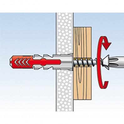 fischer Duopower Dübel rot-grau Montage in Plattenbaustoffen Schritt 3
