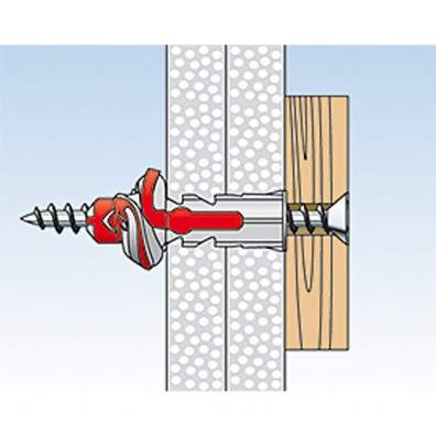 fischer Duopower Dübel rot-grau Montage in Plattenbaustoffen Schritt 5